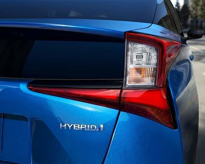 Rear of 2021 Toyota Prius with Hybrid badging