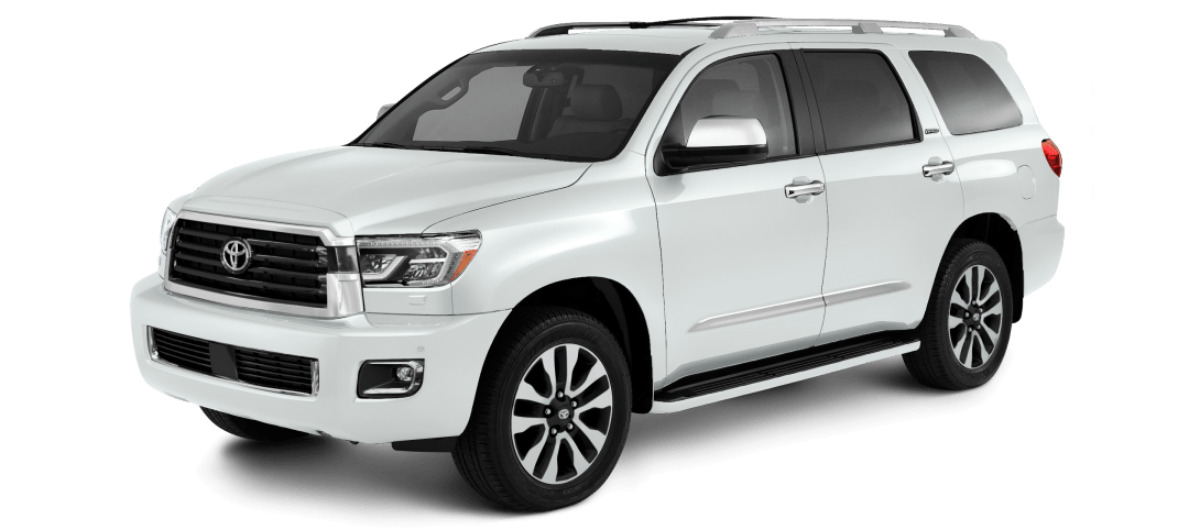 Front side view of white Toyota Sequoia