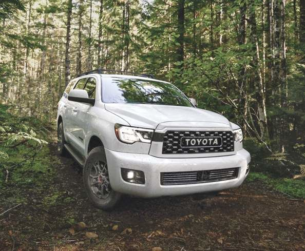 Front view of Toyota Sequoia in a forest