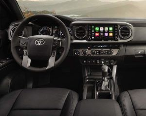 Front interior view of Tacoma with Apple CarPlay